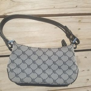 Ralph Lauren All Over Print Clutch Purse Gray